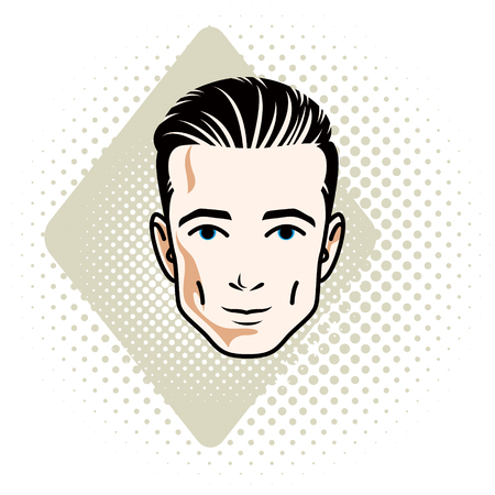 Vector illustration of handsome brunet male face, positive face features, clipart.