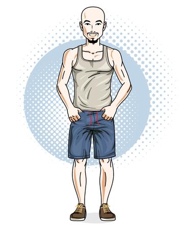 Confiant athlétique beau jeune homme sans poils debout. Illustration vectorielle d'hommes portant des vêtements décontractés, des shorts et un singulet. Vecteurs