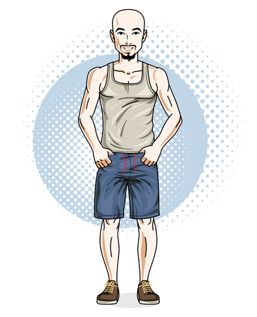 Confident athletic handsome hairless young man standing. Vector illustration of male wearing casual clothes, shorts and singlet.