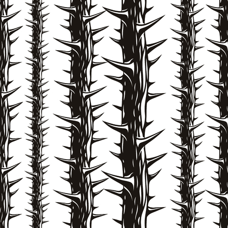 Disgusting horror art and nightmare seamless pattern, vector background. Blackthorn branches with thorns stylish endless illustration. Hard Rock and Heavy Metal subculture music textile fashion stylish design.