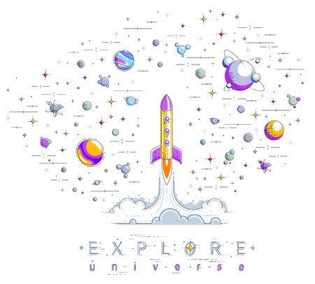 Rocket launch into undiscovered space, surrounded by fantastic planets, stars and other elements. Explore universe, space science. Thin line 3d vector illustration isolated on white. Illustration