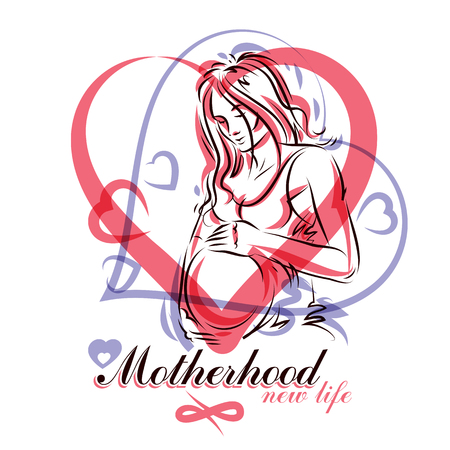 Pregnant female beautiful body outline, mother-to-be drawn vector illustration. Obstetrics and gynecology clinic advertising banner Illustration