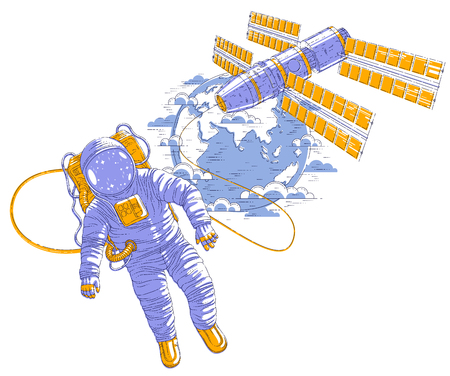 Spaceman flying in open space connected to space station and earth planet in background, astronaut man or woman in spacesuit floating in weightlessness and iss spacecraft behind him. Vector.