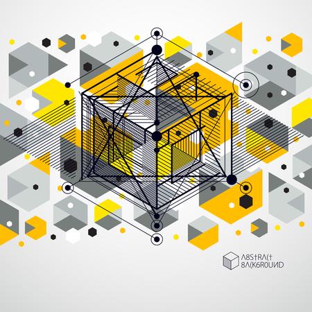 Modèle de mise en page de conception jaune 3D pour brochure, dépliant, affiche, publicité, couverture, vecteur abstrait moderne. Composition de cubes, hexagones, carrés, rectangles et différents éléments abstraits.