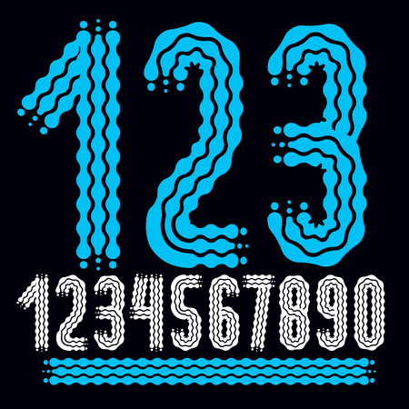 Vector funky, ornate numbers collection. Rounded bold numerals from 0 to 9 can be used in retro, disco, pop poster design. Made with flowing lines.
