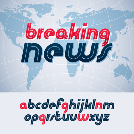 Vector lower case English alphabet letters collection, best for use in logotype design in journalism and reporting theme, breaking news. Stock Illustratie