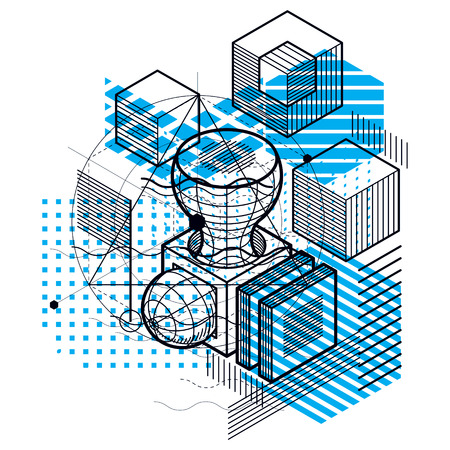 Abstract background with isometric elements, vector linear art with lines and shapes. Cubes, hexagons, squares, rectangles and different abstract elements.