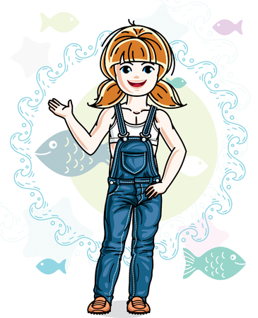 Little redhead girl cute child toddler in casual clothes standing on marine backdrop with ocean and fishes. Vector pretty nice human illustration.  イラスト・ベクター素材