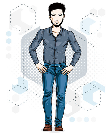 Confident handsome brunet young man standing. Vector illustration of male with beard wearing casual clothes, jeans pants and cotton shirt.
