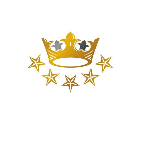 Royal Crown vector illustration. Heraldic decorative logo. Retro logotype isolated on white background.