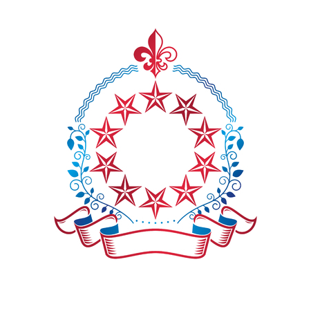 Pentagonal Stars emblem created with royal lily flower and laurel wreath, union theme symbol. Heraldic Coat of Arms, vintage vector logo.