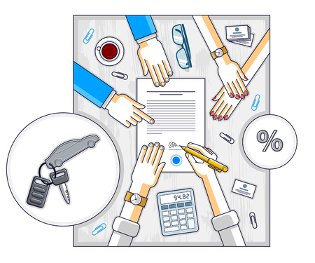 Man signs financial document for credit to buy a new car and bank employee or auto salon dealer explains terms of loan, or car rental, top view of desk with people hands and paper documents. Vector. Ilustração