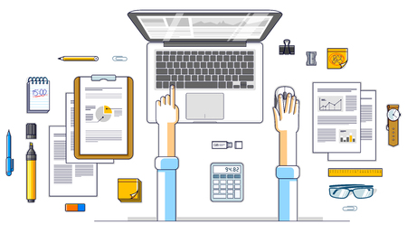 Business analysis, office worker or entrepreneur businessman working on a laptop computer and papers with financial analytics, top view of work desk with stationery and documents and hands. Vector.