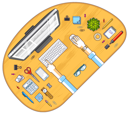 Work desk workspace top view with hands of office worker or entrepreneur, PC computer and a lot of different stationery objects on table. All elements are easy to use separately. Vector.