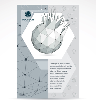 Web technologies company booklet cover design. 3d origami abstract grayscale mesh object, vector abstract design element with broken fractures.