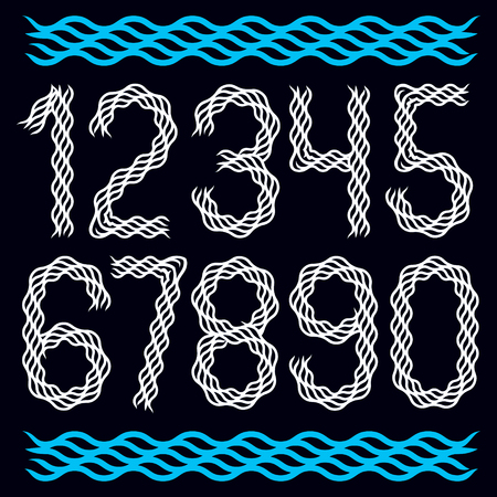 Trendy numbers collection, vector numeration created using abstract rhythmic wave lines, can be used as logo design elements Çizim