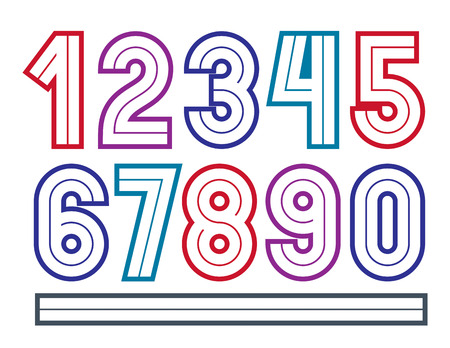 Set of vector bold numbers made with white lines, best for use in corporate logotype design.