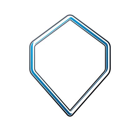 Cadre de luxe avec copie-espace vide, forme de diamant vierge héraldique classique. Étiquette de style rétro, bordure d'image.