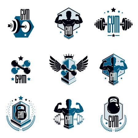 Levantamiento de pesas de gimnasio y logotipos de clubes deportivos de fitness, emblemas vectoriales estilizados retro o conjunto de insignias.