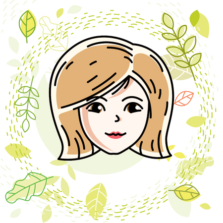 Caucasian woman face, vector human head illustration. Attractive blonde female with stylish haircut.