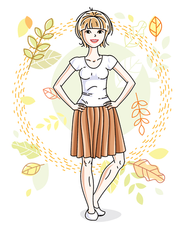 Happy young blonde woman posing on background of autumn landscape and wearing fashionable casual clothes. Vector attractive female illustration. Fashion and lifestyle theme cartoon.