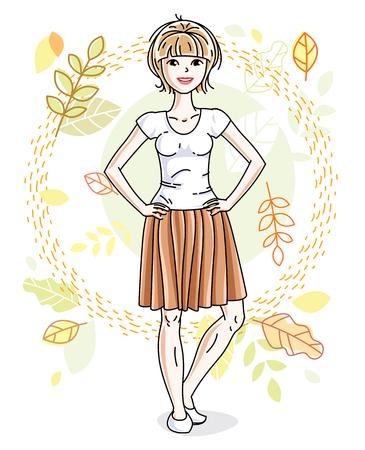 Heureuse jeune femme blonde posant sur fond de paysage d'automne et portant des vêtements décontractés à la mode. Illustration féminine attrayante de vecteur. Caricature sur le thème de la mode et du style de vie.
