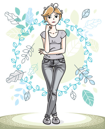 Happy pretty young blonde woman standing on background of spring ecology landscape with delicate blue leaves and wearing fashionable casual clothes. Vector character.