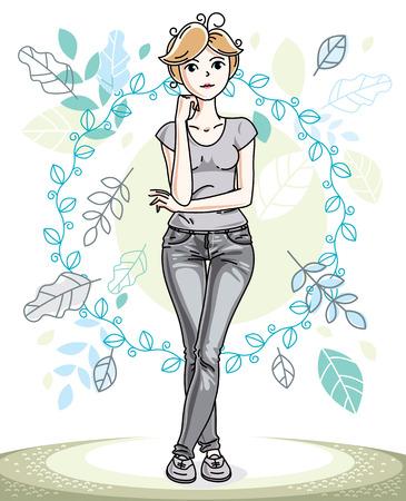 Heureuse jolie jeune femme blonde debout sur fond de paysage d'écologie de printemps avec de délicates feuilles bleues et portant des vêtements décontractés à la mode. Caractère de vecteur.