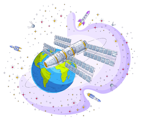 Space station flying orbital spaceflight around earth, spacecraft spaceship iss with solar panels, artificial satellite, with rockets, stars and other elements. Thin line 3d vector illustration.