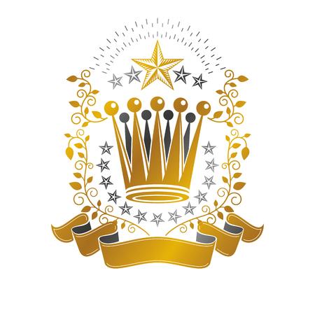 Majestic Crown emblem. Heraldic Coat of Arms decorative logo isolated vector illustration. Retro logotype on white background.