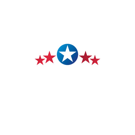 Ancient Star emblem. Heraldic vector design element, 5 stars award symbol.  Retro style label, heraldry logo.