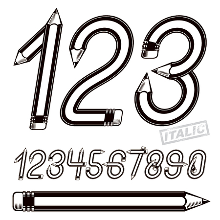 Trendy numbers collection, vector numeration created using stationery design, constructed with pencils. Can be used as logo design elements in copywriting business advertising.