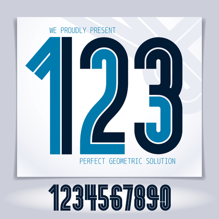 Vector elegant numbers collection made with white lines, can be used in poster art creation for social or commercial announcement Illustration