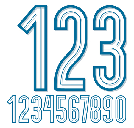Set of retro tall vector numbers can be used for logo creation.