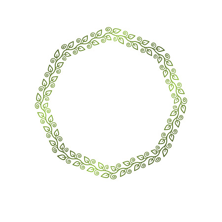 Vintage round frame created with ecology style natural ornament, green spring leaves. Heraldic Coat of Arms decorative emblem isolated vector illustration, eco friendly. Illustration