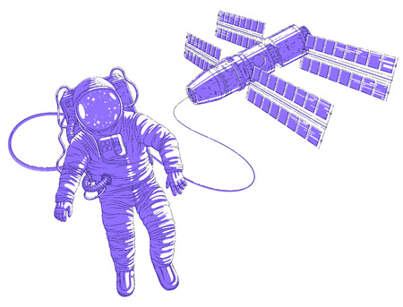 Spaceman flying in open space connected to space station, astronaut man or woman in spacesuit floating in weightlessness and iss spacecraft behind him. Vector illustration isolated over white. Illustration