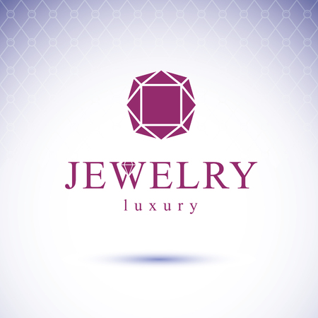 Vector glossy red ruby. Luxury diamond sign emblem. Brilliant jewelry illustration. Vettoriali