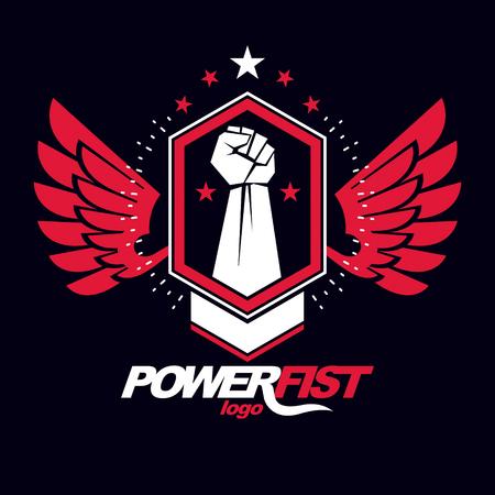 Strong fist of a muscular man vector illustration. Best fighter vector symbol, triumph concept. Vektorové ilustrace