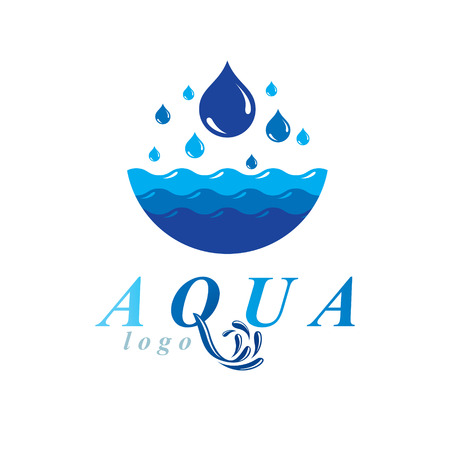 Pure water vector abstract logo for use as marketing design symbol. Alternative medicine concept.