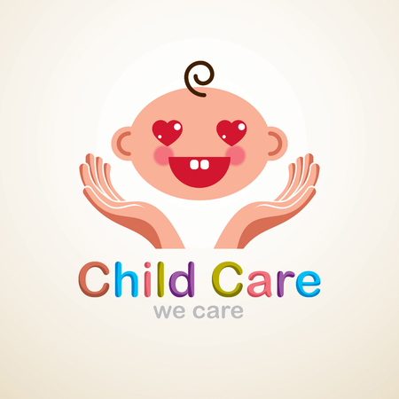 Cute baby cartoon vector flat icon, adorable happy and smiling child emoji. With mother or nanny tender hands of care. Can be used as a logo. Illustration