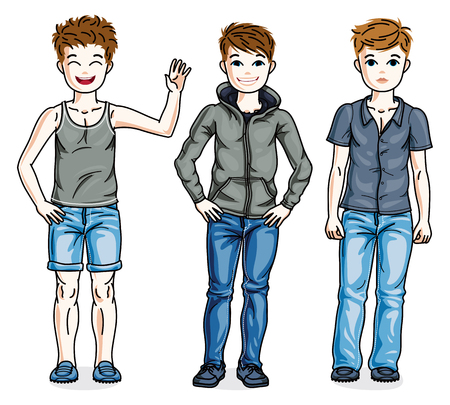 Happy young teenager boys posing wearing fashionable casual clothes. Vector set of beautiful kids illustrations. 矢量图像