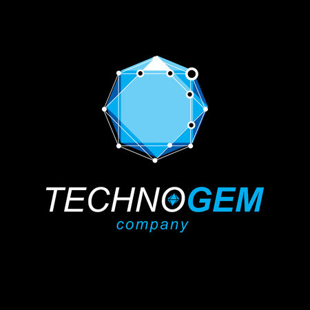 Technology corporate emblem. Abstract vector 3D geometric low poly object, digital science theme illustration.
