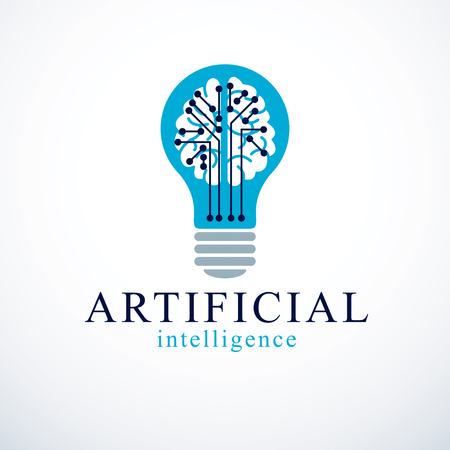 Artificial intelligence concept vector logo design. Human anatomical brain inside of light bulb with electronics technology elements icon. Smart software, futuristic idea.