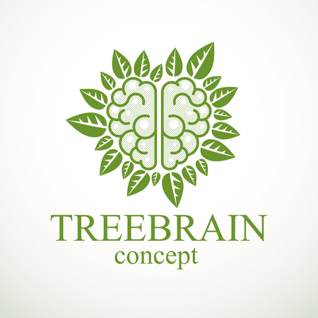 Tree Brain concept, the wisdom of nature, intelligent evolution. Human anatomical brain in a shape of tree with green leaves. Brain feeding with diet products. Vector logo or icon design.