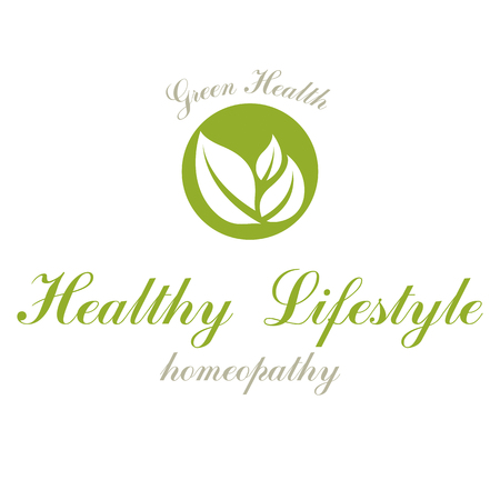 Green spring leaves vector graphic symbol for use in healthcare business. Vegetarian lifestyle conceptual logotype. ЛОГОТИПЫ