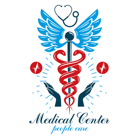 Pharmacy Caduceus icon, medical logo created with heart shape and electrocardiogram chart symbol. Cardiology diagnosis clinic emblem for use in medicine and rehabilitation.