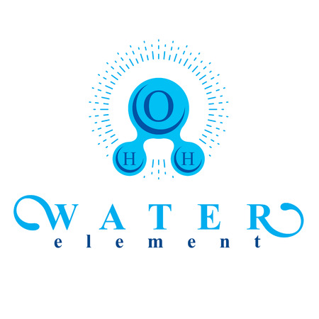 Vector blue H2O water logo for use as business emblem in spa and resort organizations. Illustration