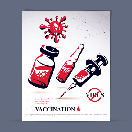 Planned immunization flyer template. Vector illustration of disposable syringe, bottle and ampoule with medicine isolated on white background.