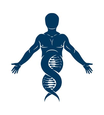 Ilustración de vector de atleta humano representado como continuación de hebras de ADN. Concepto de biotecnología molecular. Ilustración de vector