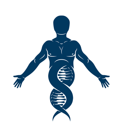 Vector illustration of human, athlete depicted as DNA strands continuation. Molecular biotechnology concept. 矢量图片